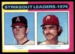 1975 Topps #312   -  Nolan Ryan / Steve Carlton Strikeout Leaders Front Thumbnail