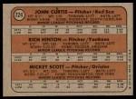 1972 Topps #724   -  John Curtis / Rich Hinton / Mickey Scott AL Rookies - Pitchers Back Thumbnail