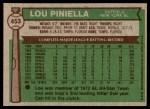 1976 Topps #453  Lou Piniella  Back Thumbnail