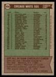 1976 Topps #656   -  Chuck Tanner White Sox Team Checklist Back Thumbnail