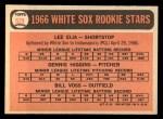 1966 Topps #529   -  Dennis Higgins / Bill Voss / Lee Elia White Sox Rookies Back Thumbnail