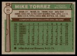 1976 Topps #25  Mike Torrez  Back Thumbnail