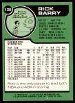 1977 Topps #130  Rick Barry  Back Thumbnail