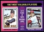 1975 Topps #205   -  Carl Yastrzemski / Orlando Cepeda 1967 MVPs Front Thumbnail