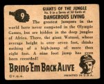 1950 Topps Bring Em Back Alive #9   Giants Of The Jungle Back Thumbnail