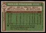 1976 Topps #405  Rollie Fingers  Back Thumbnail