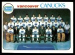 1978 Topps #207   Canucks Team Checklist Front Thumbnail