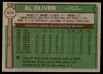 1976 Topps #620  Al Oliver  Back Thumbnail