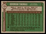 1976 Topps #139  Gorman Thomas  Back Thumbnail
