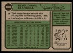 1974 Topps #100  Willie Stargell  Back Thumbnail