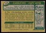 1980 Topps #208  Stan Smyl  Back Thumbnail