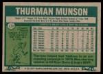1977 Topps #170  Thurman Munson  Back Thumbnail