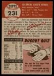 1953 Topps #231  Solly Hemus  Back Thumbnail