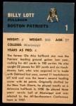 1962 Fleer #1  Billy Lott  Back Thumbnail