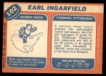 1968 Topps #102  Earl Ingarfield  Back Thumbnail