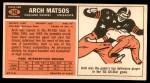 1965 Topps #142  Arch Matsos  Back Thumbnail