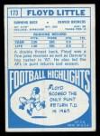 1968 Topps #173  Floyd Little  Back Thumbnail