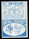 1968 Topps #160  Jim Taylor  Back Thumbnail