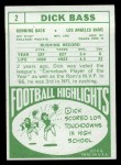 1968 Topps #2  Dick Bass  Back Thumbnail