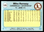 1982 Fleer #125  Mike Ramsey  Back Thumbnail