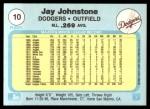 1982 Fleer #10  Jay Johnstone  Back Thumbnail