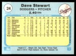 1982 Fleer #24  Dave Stewart  Back Thumbnail