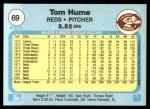 1982 Fleer #69  Tom Hume  Back Thumbnail
