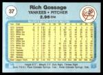 1982 Fleer #37  Goose Gossage  Back Thumbnail