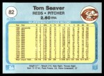1982 Fleer #82  Tom Seaver  Back Thumbnail