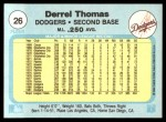 1982 Fleer #26  Derrel Thomas  Back Thumbnail