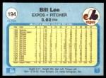 1982 Fleer #194  Bill Lee  Back Thumbnail