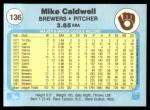1982 Fleer #136  Mike Caldwell  Back Thumbnail