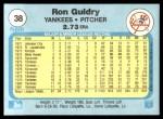 1982 Fleer #38  Ron Guidry  Back Thumbnail