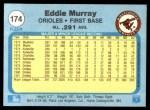 1982 Fleer #174  Eddie Murray  Back Thumbnail