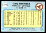 1982 Fleer #177  Gary Roenicke  Back Thumbnail