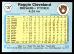 1982 Fleer #137  Reggie Cleveland  Back Thumbnail