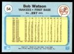 1982 Fleer #54  Bob Watson  Back Thumbnail