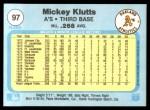 1982 Fleer #97  Mickey Klutts  Back Thumbnail