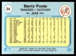 1982 Fleer #34  Barry Foote  Back Thumbnail