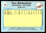 1982 Fleer #16  Tom Niedenfuer  Back Thumbnail