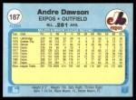 1982 Fleer #187  Andre Dawson  Back Thumbnail