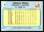 1982 Fleer #47  Johnny Oates  Back Thumbnail
