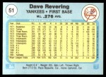 1982 Fleer #51  Dave Revering  Back Thumbnail