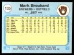 1982 Fleer #135  Mark Brouhard  Back Thumbnail
