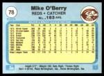 1982 Fleer #78  Mike O'Berry  Back Thumbnail