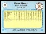 1982 Fleer #87  Dave Beard  Back Thumbnail