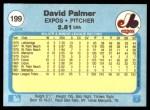 1982 Fleer #199  David Palmer  Back Thumbnail