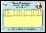 1982 Fleer #188  Terry Francona  Back Thumbnail