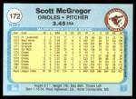 1982 Fleer #172  Scott McGregor  Back Thumbnail
