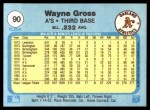 1982 Fleer #90  Wayne Gross  Back Thumbnail